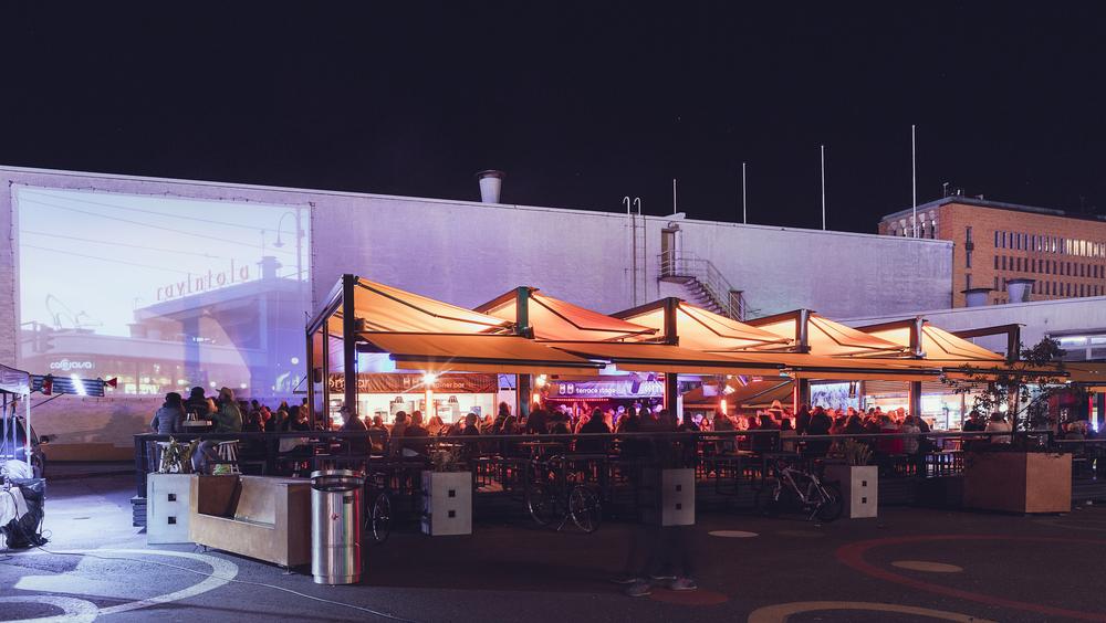 Mbar terrace night-time