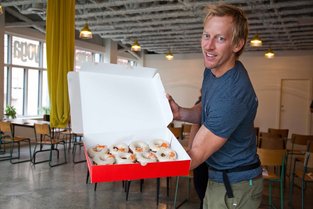 Donut rush at a Growth Hacking event at Stretch Yoga. Mmmm.