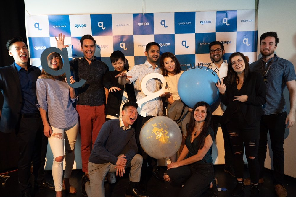 Quupe's co-founders, team members, current interns, and a couple of investors at the Quupe spring party in April (photo credit: Quupe)