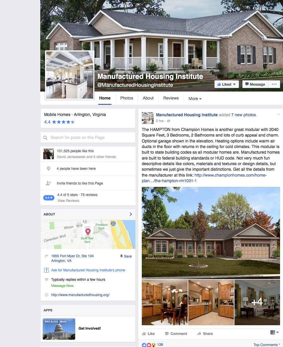 The Manufactured Housing Insute Hits a Social Media Milestone ... on home investment, home sports, home electronics,
