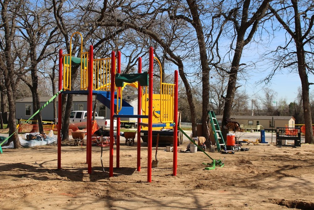 The new playground area at Hardrock Park - a renovated manufactured housing community in Grand Prairie, TX