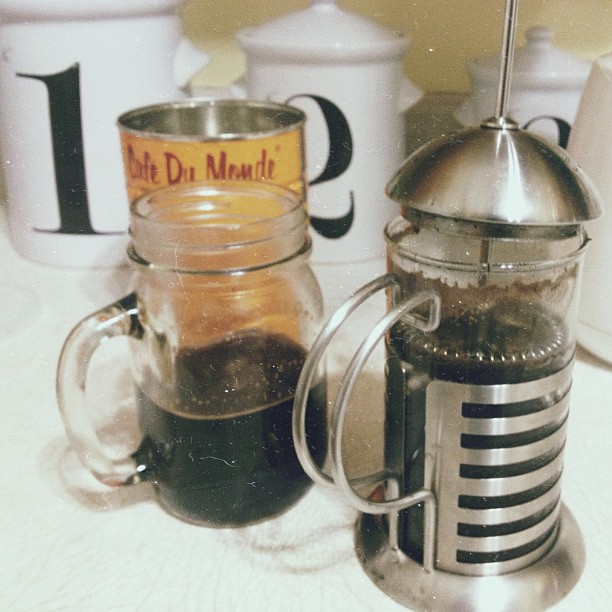Chilly rainy day cure. #french press #coffee