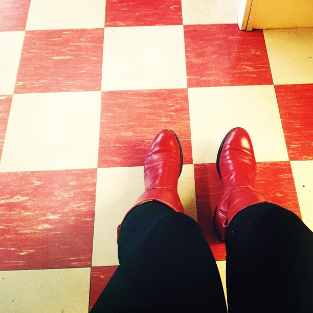 Happy tiles happy feet. #red #cowboy #boots (at Bryant's Breakfast)