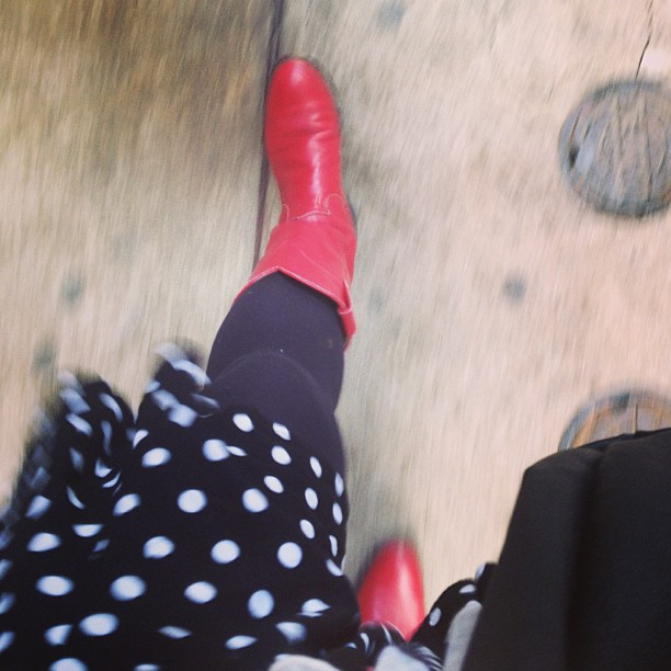 These boots are made for walkin' #red #cowboy #boots #polkadots