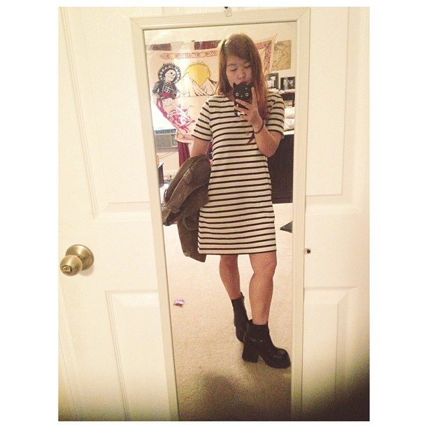 Striped shift dress with pockets! #ootd
