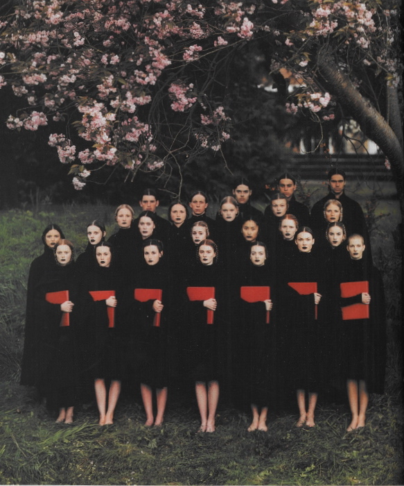 This is amazing    The Choir , photographed by Phil Poynter for Dazed and Confused, 1999   All clothes by Raf Simons