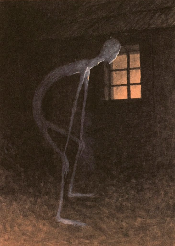 dvdp: Jaroslav Panuška: Death Looking into the Window of One Dying, 1900 Every time I meet this painting I feel so connected. Always experiencing life as other's life. Now I know the title of it, and I feel confirmed that titles suck. They limit the possibilities of interpretation.