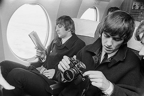FFFFOUND! | Ringo Starr and George Harrison on an aeroplane on Flickr - Photo Sharing!
