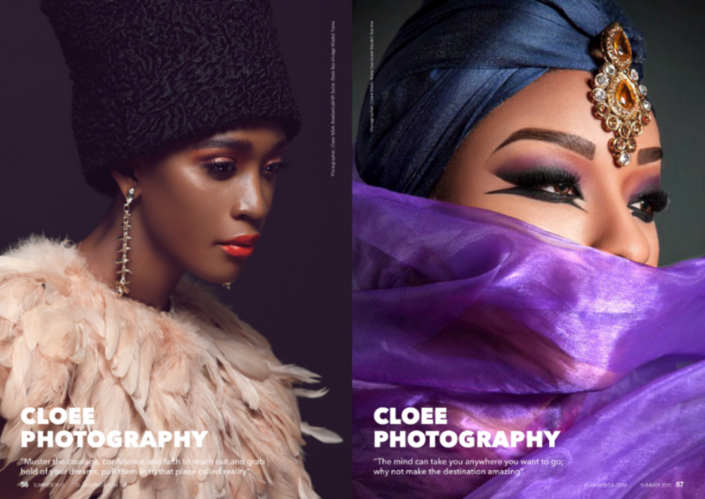 Left image: Photography/Creative Direction: Cloee, Make up artist: Beatbarbymkr, Stylist: Black Box Vintage, Model: Fanta Right image: Photography: Cloee, Make up artist: Nana Yaa Grant, Model: Yvonne