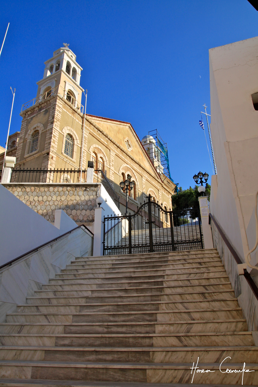 steps up to a church inside the town.