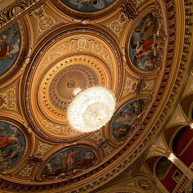The beautiful ceiling and chandelier of the Mahen Theatre in Brno, where Janáček premiered most of his late (and now famous) operas.  Prokofiev also premiered his Romeo and Juliet here!