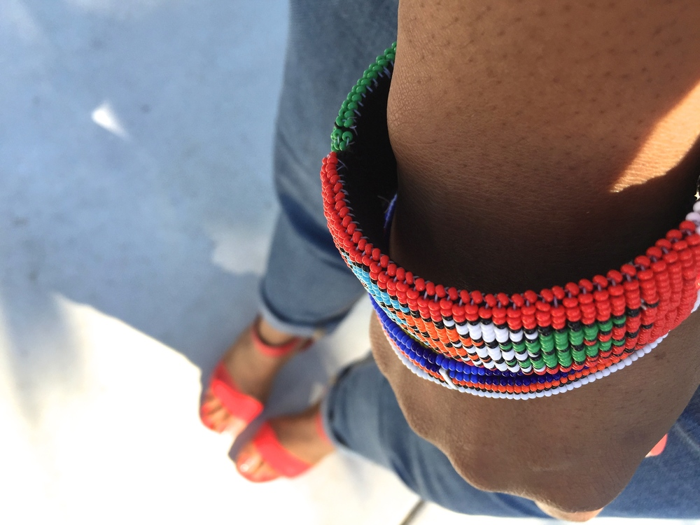 Pops of color - Vintage Nina sandals/Old Navy denim/masaai bracelets