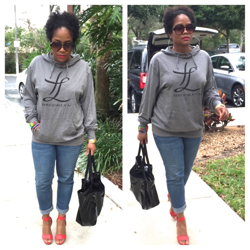 Thrill of Liberation hoodie/Old Navy denim/Vintage Nina sandals/Le Sport Sac tote