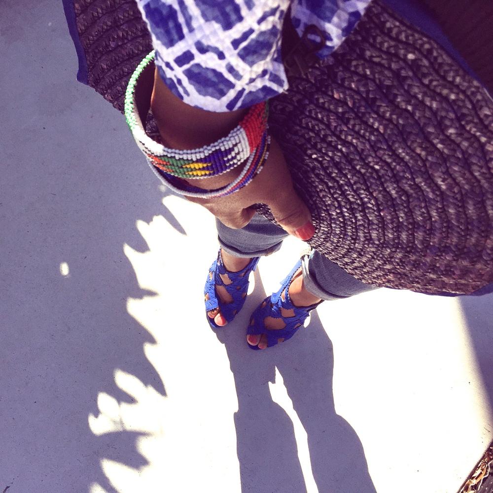 Details...texture...color - Vintage straw clutch/Masaai bracelets/Zara blue suede sandals