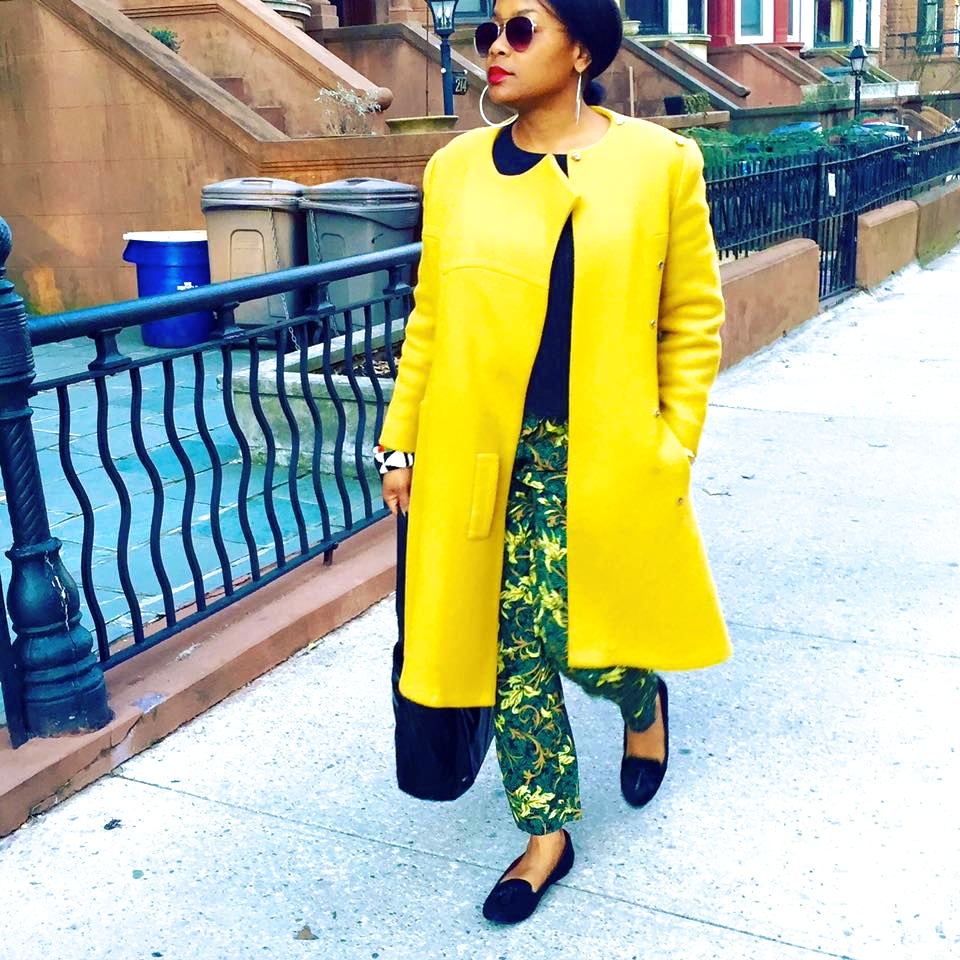 My very favorite vintage coat.  The detail is in the color...canary yellow makes this bird sing! Zara floral pants, Tommy Hilfiger pony tassel loafers.