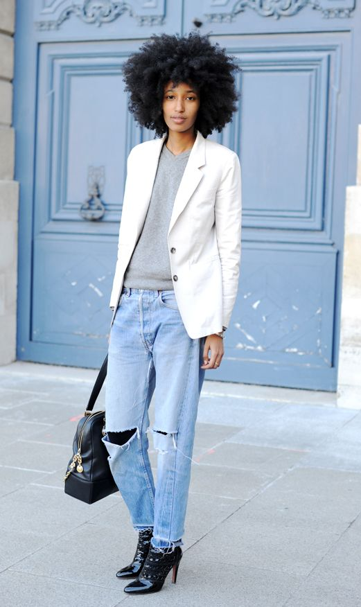 Julia Sarr-Jamois keeping it classic and casual. Photo via  Vogue.com