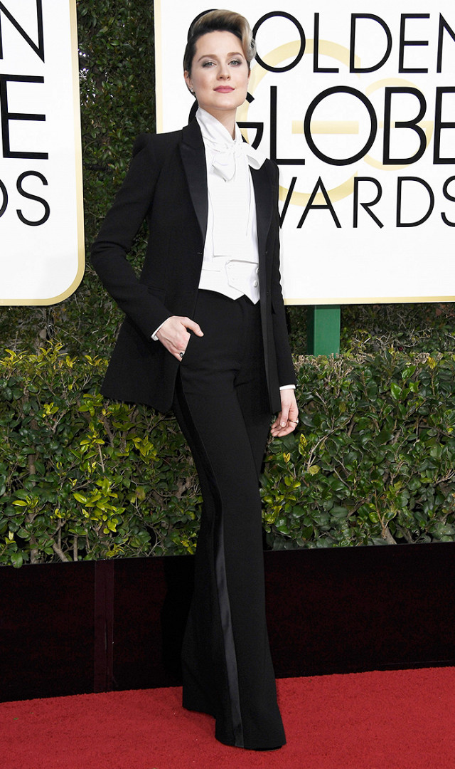 And the award for the baddest **tch goes to...Evan Rachel Wood!  This custom  Altuzarra  tux is giving me all kinds of life and dopeness!  She wins it all for me! Giving me Janelle Monae realness! (getty image)