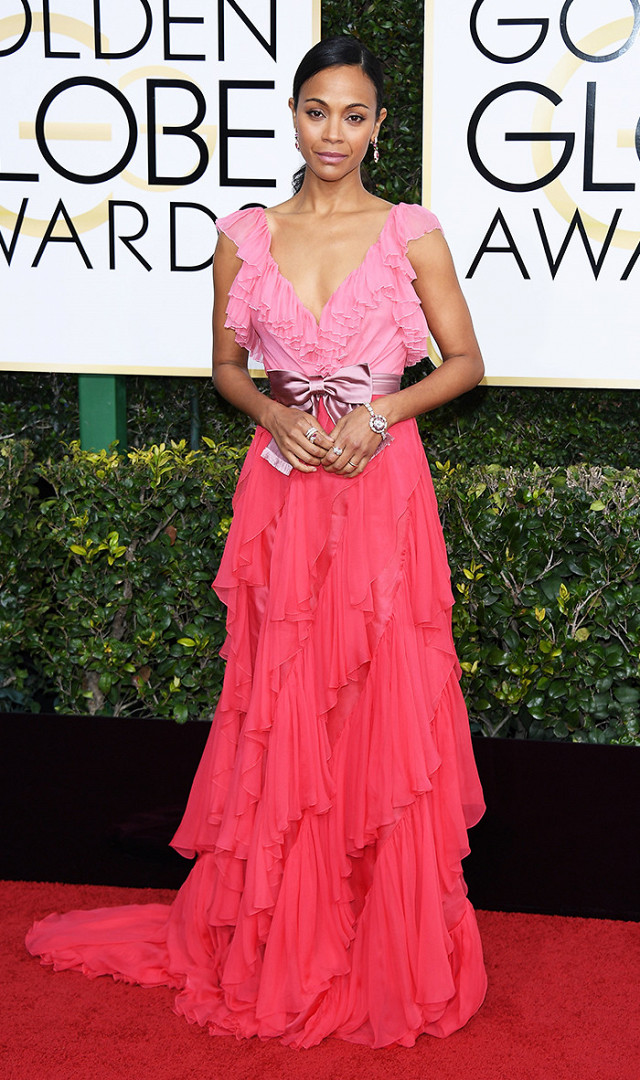 Zoe Saldana in  Gucci ...I am loving the soft layers of shades of pink! (getty image)