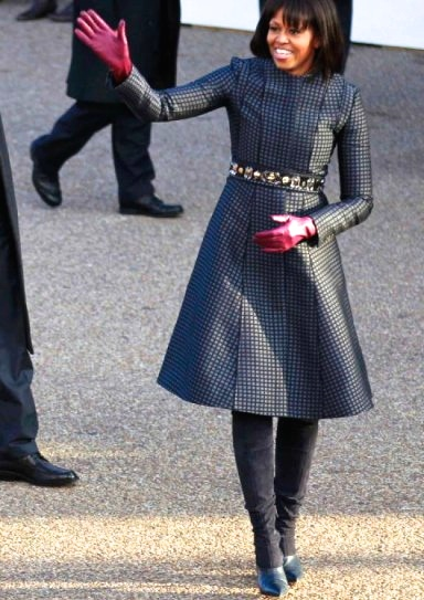 Her second inauguration look was just as classic. Her Thom Brown coat and dress looked amazing with these Reed Krakoff boots