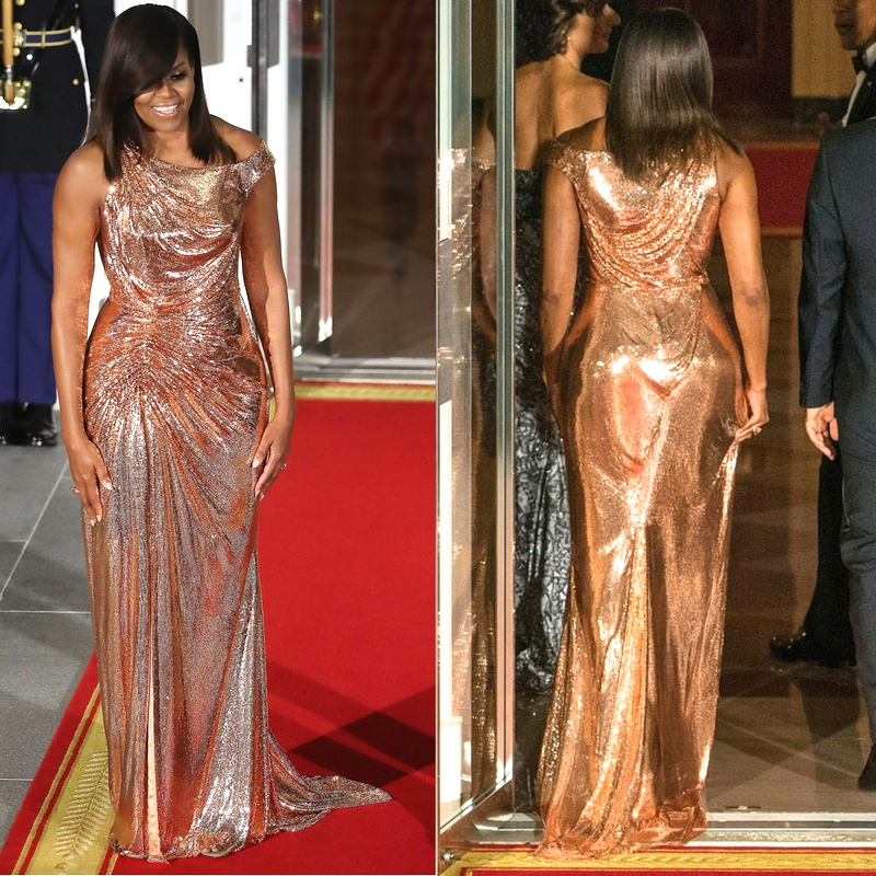 I had to give both views of this magnificence...dang. She wins all of the awards in this Versace Atelier gown.