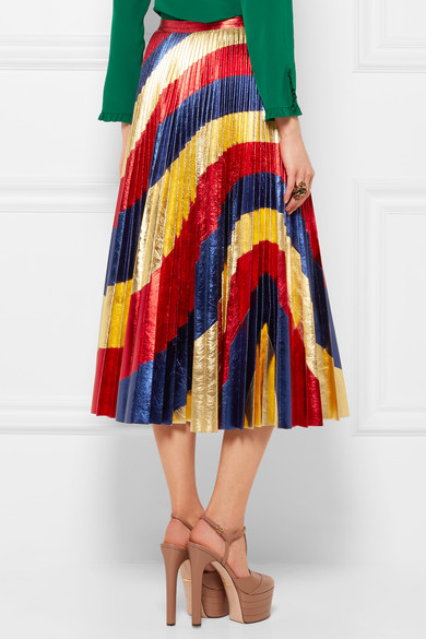 Gucci...the holy grail! My goodness, this metallic leather pleated rainbow skirt is above and beyond! Photo via Net-A-Porter.