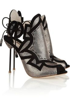 Sophia Webster cutout metallic leather sandals.