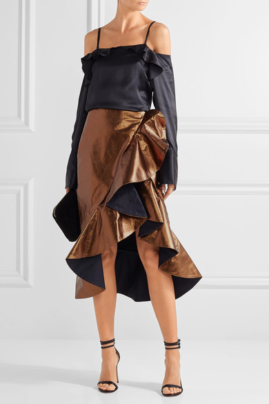 Johanna Ortiz kills it with this ruffled leather wrap skirt. Photo via Net-A-Porter.