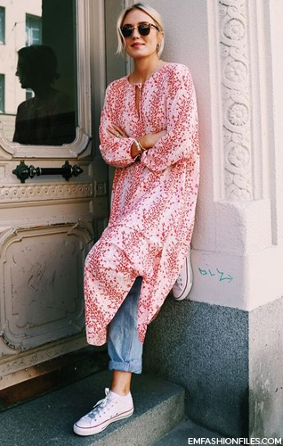 I love a summer caftan especially as a beach cover up. The addition of jeans and sneaks makes for the perfect transition look.   Photo via Emfashionfiles.com