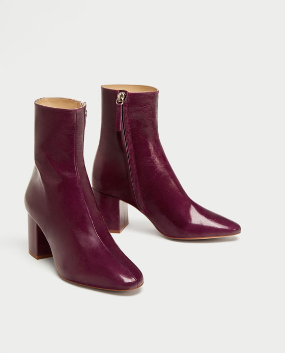 Zara Leather Ankle Boots with Block Heel
