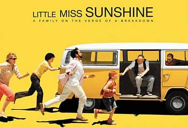 Marco and I watched the movie  Little Miss Sunshine  the other night.  It was great. The characters were unique, sarcastic, and funny. I definitely recommend it.  But don't go to the website, it is very annoying.