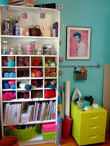 My Aim Is True: The Craft Room    I want this… (maybe not that girlie) The organization turns me on.