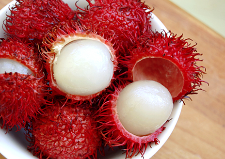 I never knew lychees looked like this pre skinned.  Rambutan