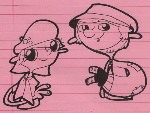 Nifty. I love that show.   eatsleepdraw :     Hi. I'm new here. Here's a doodle of the Threadbangers , Rob & Corinne.   - Jeaux