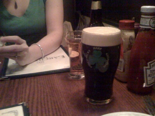 Out to dinner with my Marco because he said it wouldn't be St. Patrick's Day without a Guinness. (via marco)