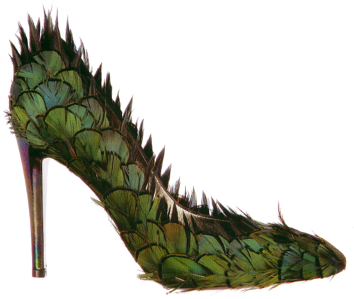 Tuesday was awesome (from my Shoe-A-Day calendar) Fancy feathered stiletto, Patrick Cox, 2006