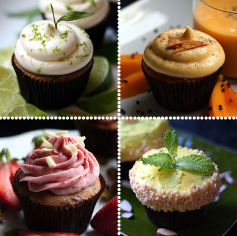 The one on the top right is a mango lassi cupcake. Mini cupcakes from  Whiskie Bits  (via  Oh Joy! )