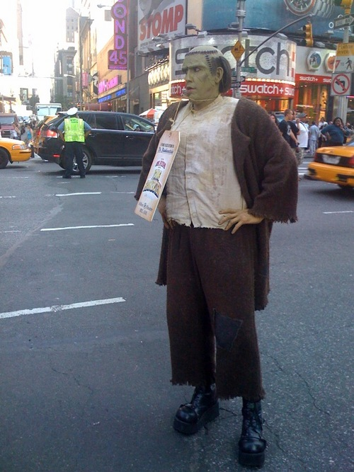 I saw him taking a smoke-break down a side street the other day!    lfarm :He's directing traffic in Times Square!