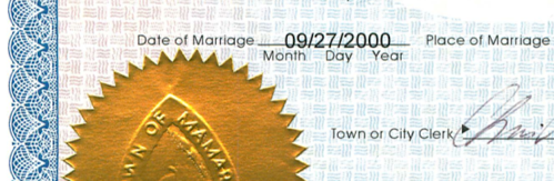 Yup.  I was 17.    marco :     Got the marriage certificate today.   Oops.   I had no idea that we've been married since over a year before we met. And 6 years before I lived in this state. And with a marriage license issued almost 8 years after the marriage.