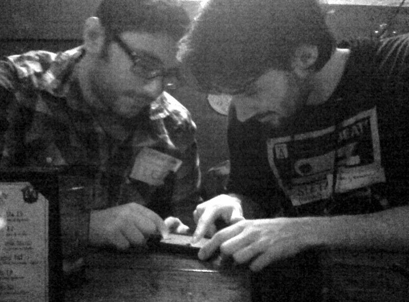iPhone app games at the Tumblr meet up. (Pictured  Lee  and  Stefan )