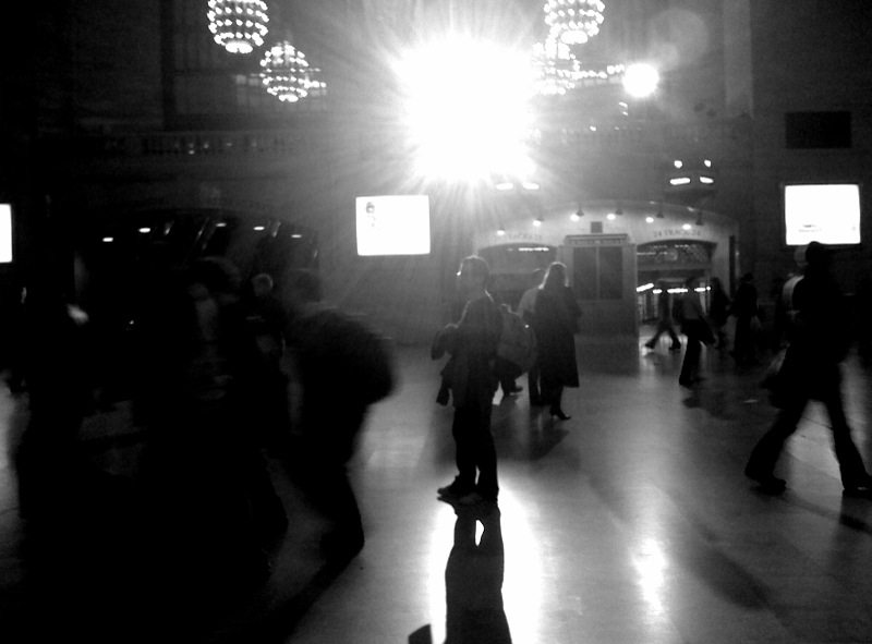 A film crew was setting up in Grand Central tonight. They had a really big light.