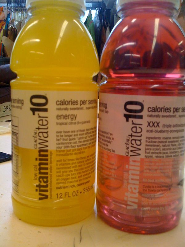 They were giving out free vitamin water today. Street promo review #2: red- acai blueberry pomegranate, xxx, antioxidant, red coats your tongue like cough syrup, also flavor of cough syrup in koolaid, therefore red undrinkable regardless of antioxidant power. Yellow- tropical citrus, better tasting than red, did not feel more energy, chemical fruit, slight tongue coating, almost (but still not) drinkable. Over all- too many ingredients to be called water, 15 calories, unnatural colors, chemical toxic fruit, no energy or xxx. Do not buy. Get your vitamins from real food.