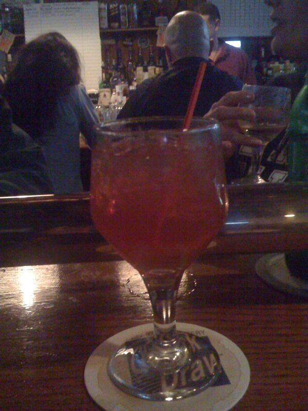 Out with the family at Cavanaugh's having my new drink, The Cran Marnier. (cranberry juice and Grand Marnier). Friendly couple at the bar coined the name.