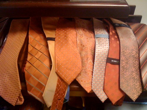 The search continues for the perfect orange tie.