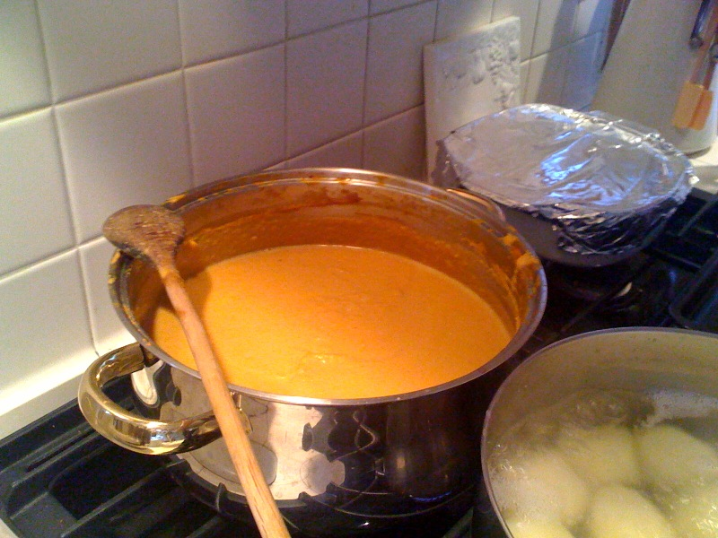 First course of our family Thanksgiving, pumpkin soup. Mmmm.