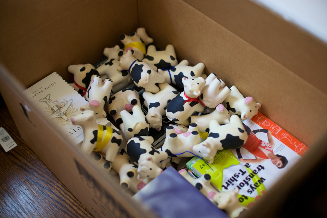 Squishy cows make excellent packing supplies.