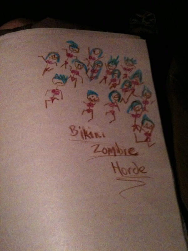 my drawing: Bikini Zombie Horde.    Drinking and Drawing  bikini zombie night.     (photo from  Marco's  iphone)