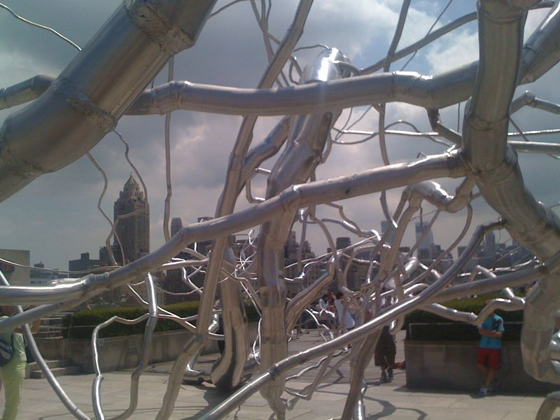 Crazy metal tree on the roof at The Met.