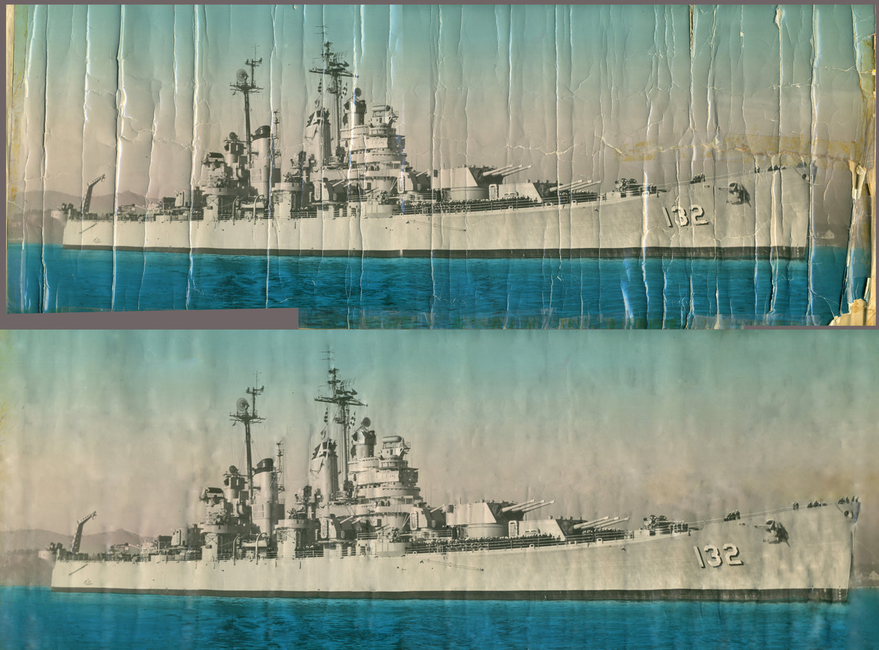 My grandfather was stationed on the heavy cruiser U.S.S. Macon CA 132 in 1954 during the Korean War.  He has a lot of amazing photos from his navy days.  In particular, he has a huge poster size photo of his ship.  He has kept it rolled up for over 50 years and it became cracked and extremely damaged.  As a gift to him, I tried to fix it up.  I'm not a photoshop expert, but I think it came out pretty good.  There are still traces of the folds and bends, but come on, it's old.