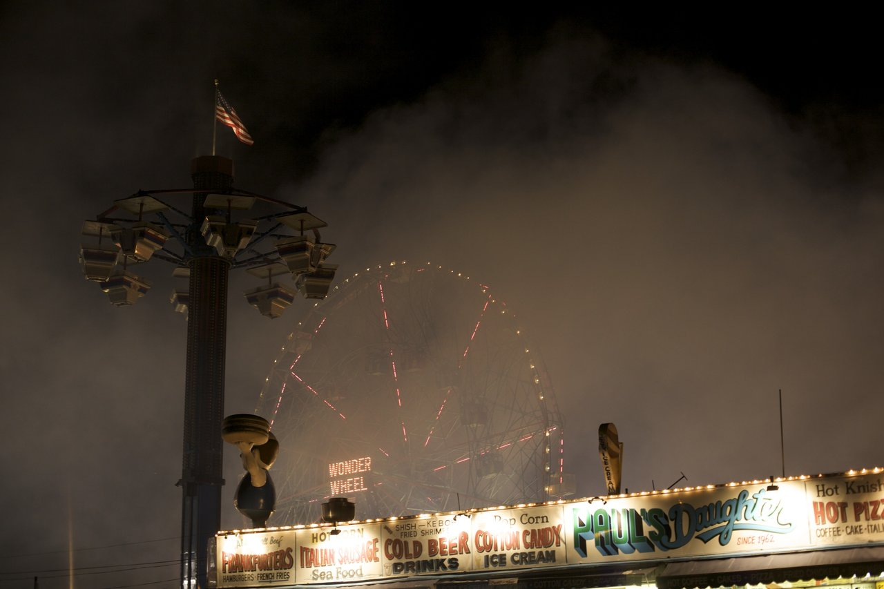 """On second thought, I'm glad we're not on the Wonder Wheel."" - Jeremy     The fireworks made  a lot  of smoke."