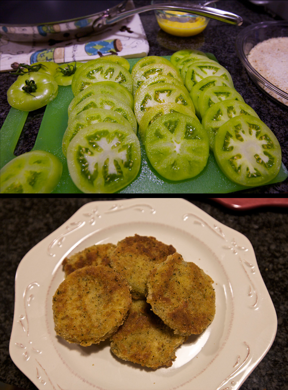 We bought green tomatoes at the farmer's market this weekend.  So tonight I made fried green tomatoes for the first time.  In conclusion, I will be making these every chance I get.